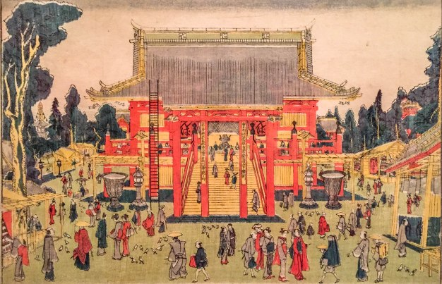 The Precincts of the Kinryûzan Temple of Kannon at Asakusa (Asakusa Kinryûzan Kanzeon keidai no zu). Katsushika Hokusai. 1780s.